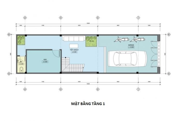 Mặt bằng công năng mẫu thiết kế nhà ống 3 tầng lệch - 1