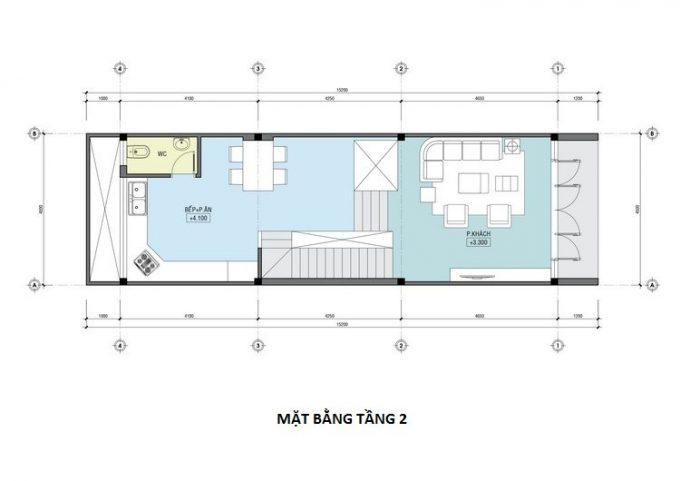 Mặt bằng công năng mẫu thiết kế nhà ống 3 tầng lệch - 2