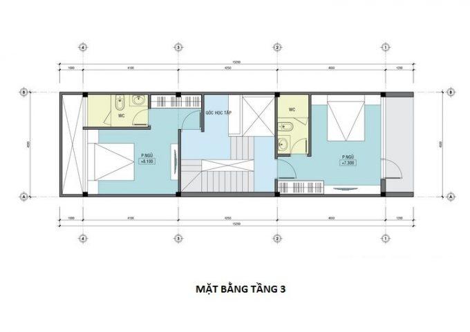 Mặt bằng công năng mẫu thiết kế nhà ống 3 tầng lệch - 3