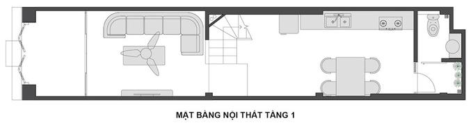 Mặt bằng công năng mẫu thiết kế nhà ống 3 tầng lệch hiện đại - 1