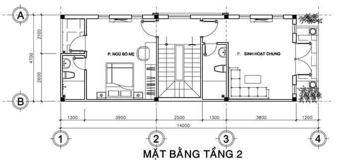 Mặt bằng công năng thiết kế nhà ống 3 tầng mái thái tầng 2