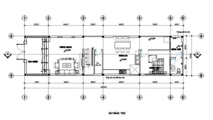 Mặt bằng thiết kế nhà ống 3 tầng mái thái tân cổ điển - 1
