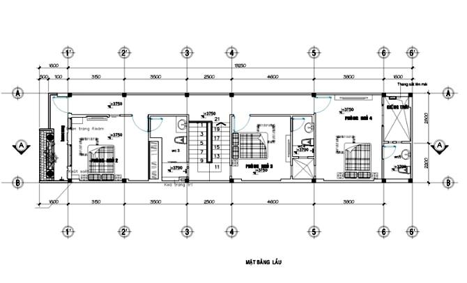 Mặt bằng thiết kế nhà ống 3 tầng mái thái tân cổ điển - 2