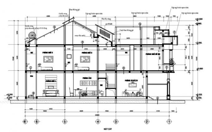 Mặt cắt thiết kế nhà ống 3 tầng mái thái tân cổ điển - 2