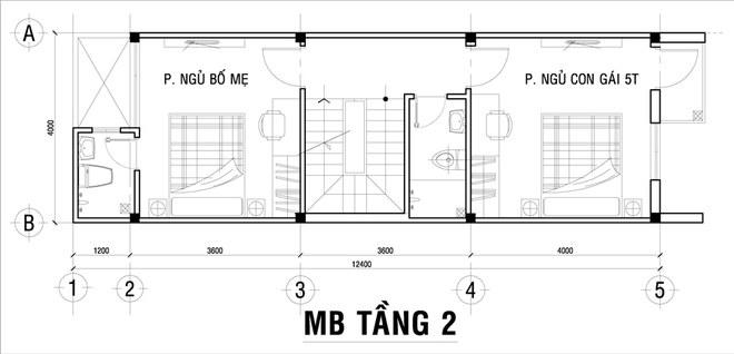 Mặt bằng tầng 2 của thiết kế nhà ống 3 tầng mặt tiền 4m
