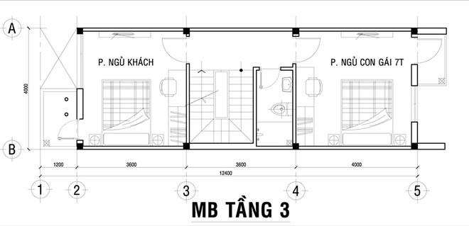 Mặt bằng tầng 3 của thiết kế nhà ống 3 tầng mặt tiền 4m