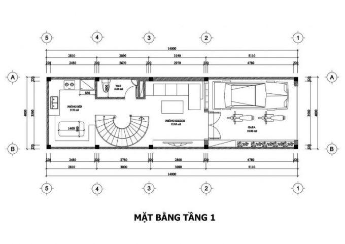 Mặt bằng công năng thiết kế nhà ống 3 tầng tân cổ điển - tầng 1