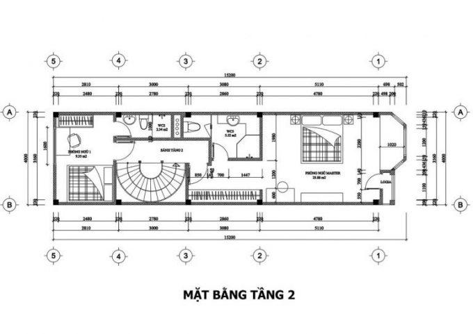 Mặt bằng công năng thiết kế nhà ống 3 tầng tân cổ điển - tầng 2