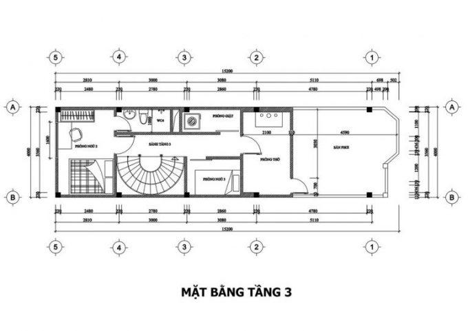 Mặt bằng công năng thiết kế nhà ống 3 tầng tân cổ điển - tầng 3