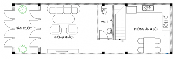Mặt bằng công năng của thiết kế nhà ống 3 tầng thoáng rộng - 1