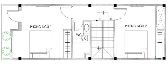 Mặt bằng công năng của thiết kế nhà ống 3 tầng thoáng rộng - 2