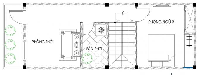 Mặt bằng công năng của thiết kế nhà ống 3 tầng thoáng rộng - 3