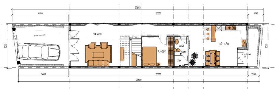 Thiết kế nhà ống 3 tầng thoáng mát. 1