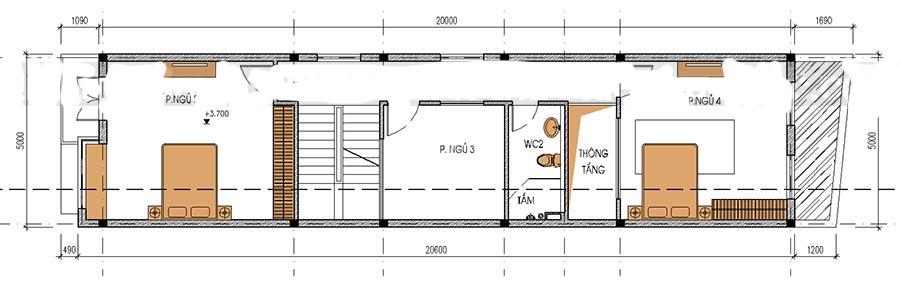 Thiết kế nhà ống 3 tầng thoáng mát. 2