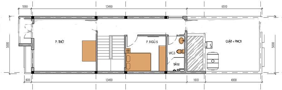 Thiết kế nhà ống 3 tầng thoáng mát. 3