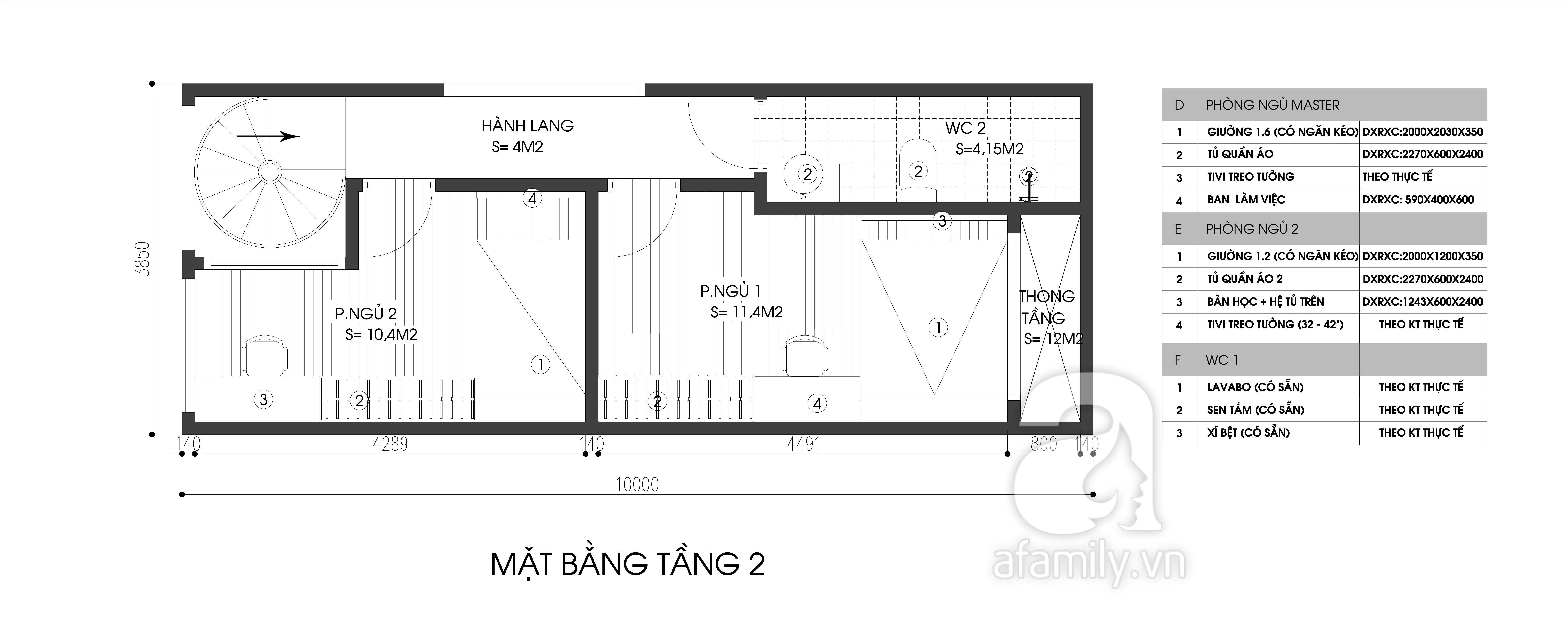 Mặt bằng tầng 2 - thiết kế nhà ống 3 tầng hiện đại 38,5m2