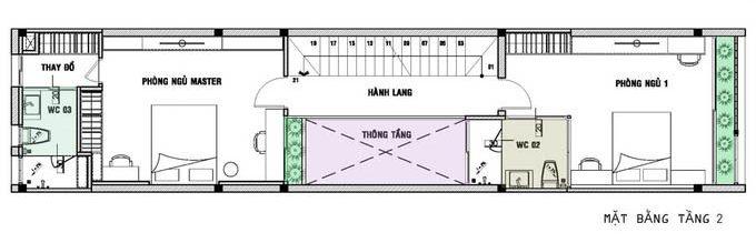 Mặt bằng công năng mẫu thiết kế nhà ống 3 tầng ngập tràn ánh sáng - 2