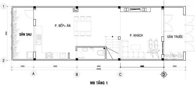 Mặt bằng công năng mẫu thiết kế nhà ống 3 tầng trắng tinh khôi - 1