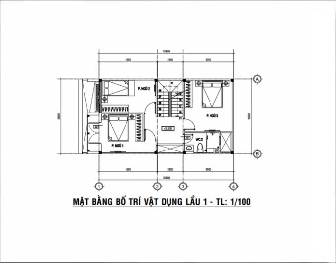 Mặt bằng công năng của thiết kế nhà ống 3 tầng mặt tiền 6m- 2