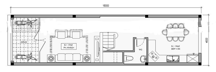Thiết kế nhà ống 4 tầng diện tích 4x15m. 1