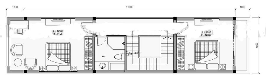 Thiết kế nhà ống 4 tầng diện tích 4x15m. 2