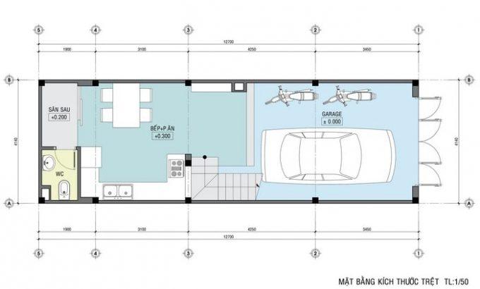 Mặt bằng thiết kế nhà ống 4 tầng hiện đại sang trọng - 1