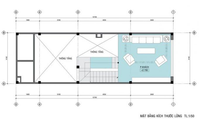 Mặt bằng thiết kế nhà ống 4 tầng hiện đại sang trọng - 2