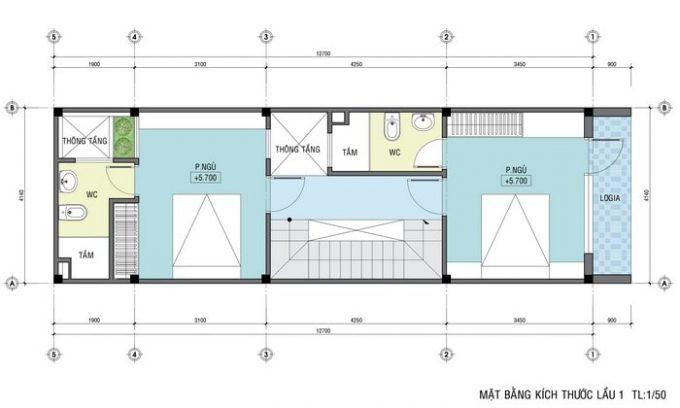 Mặt bằng thiết kế nhà ống 4 tầng hiện đại sang trọng - 3