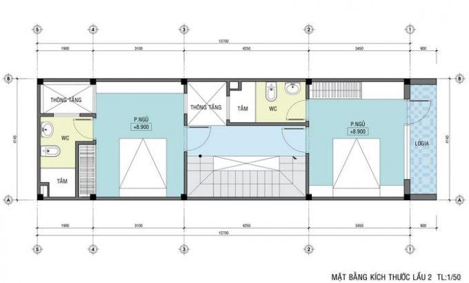 Mặt bằng thiết kế nhà ống 4 tầng hiện đại sang trọng - 4