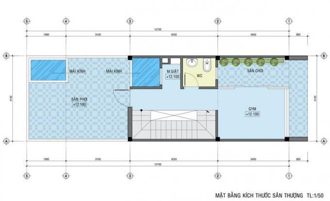 Mặt bằng thiết kế nhà ống 4 tầng hiện đại sang trọng - 5Mặt bằng thiết kế nhà ống 4 tầng hiện đại sang trọng - 5