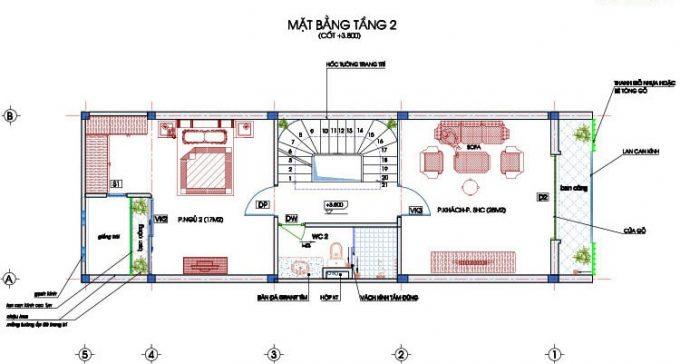 Mặt bằng công năng thiết kế nhà ống 4 tầng hiện đại sang trọng - 2