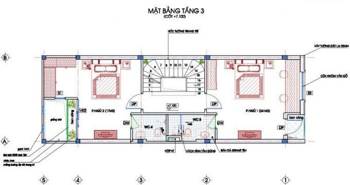 Mặt bằng công năng thiết kế nhà ống 4 tầng hiện đại sang trọng - 3