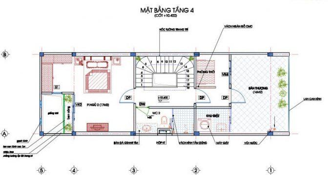 Mặt bằng công năng thiết kế nhà ống 4 tầng hiện đại sang trọng - 4