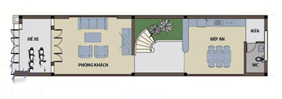 Thiết kế nhà ống 4 tầng hiện đại thoáng mát. 1