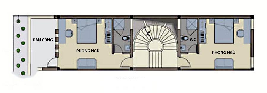 Thiết kế nhà ống 4 tầng hiện đại thoáng mát. 2