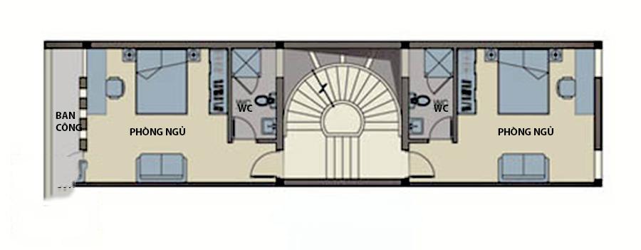 Thiết kế nhà ống 4 tầng hiện đại thoáng mát. 3