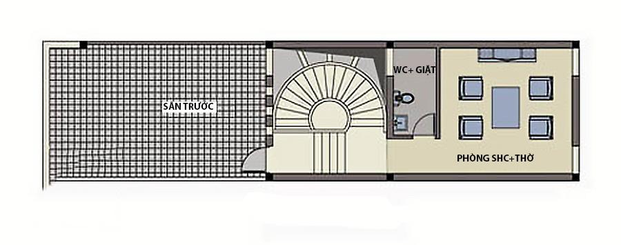 Thiết kế nhà ống 4 tầng hiện đại thoáng mát. 4