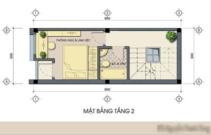 mặt bằng tầng 2 - Thiết kế nhà ống đẹp 3 tầng diện tích nhỏ
