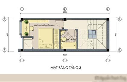 mặt bằng tầng 3 - Thiết kế nhà ống đẹp 3 tầng diện tích nhỏ
