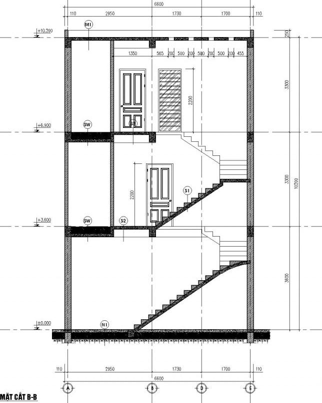 Mặt cắt của mẫu thiết kế nhà ống đẹp 3 tầng
