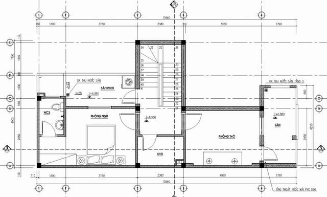 Bản vẽ mặt bằng mẫu thiết kế nhà ống đẹp 3 tầng ở Nha Trang - tầng 3