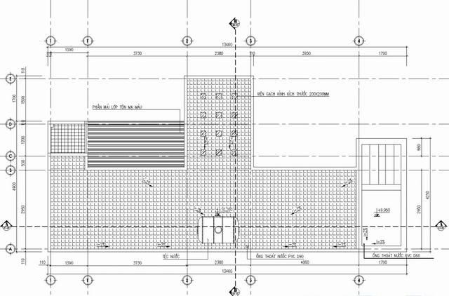 Bản vẽ mặt bằng mẫu thiết kế nhà ống đẹp 3 tầng ở Nha Trang - tầng mái