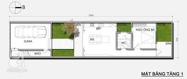 Mặt bằng tầng 1 - Thiết kế nhà ống đẹp 3 tầng tiết kiệm chi phí