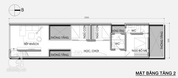 Mặt bằng tầng 2 - Thiết kế nhà ống đẹp 3 tầng tiết kiệm chi phí