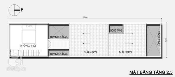 Mặt bằng tầng 3 - Thiết kế nhà ống đẹp 3 tầng tiết kiệm chi phí