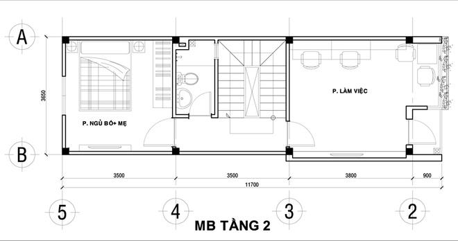 Thiết kế nhà ống đẹp 4 tầng 2 mặt thoáng. 2