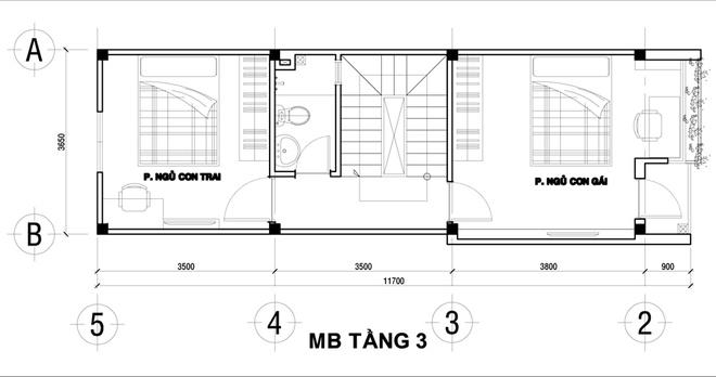 Thiết kế nhà ống đẹp 4 tầng 2 mặt thoáng. 3