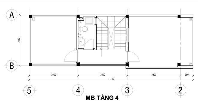 Thiết kế nhà ống đẹp 4 tầng 2 mặt thoáng. 4