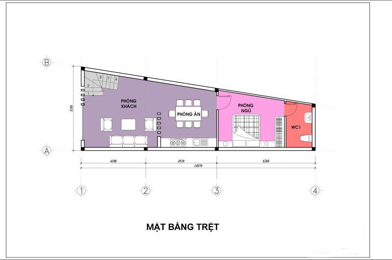 Mặt bằng tầng 1 - thiết kế nhà ống đẹp 4 tầng nhỏ hậu
