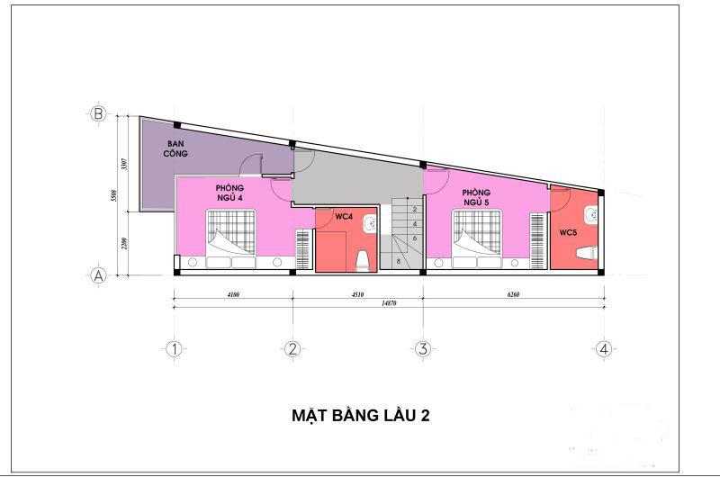 Mặt bằng tầng 3 - thiết kế nhà ống đẹp 4 tầng nhỏ hậu